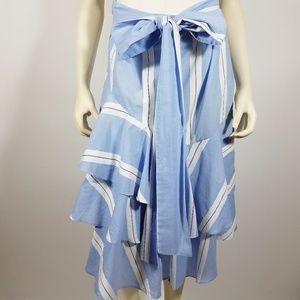 ZARA Blue White Striped Ruffled Tiered Skirt - L